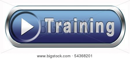 training learning for knowledge and wisdom or physical fitness sport practice work out or education blue button or icon with text and word concept