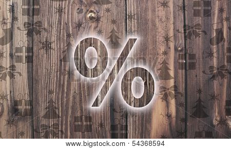 Wooden Percent Symbol With Presents