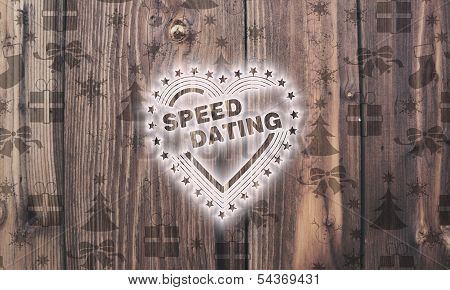 Wooden Speed Dating Label With Presents