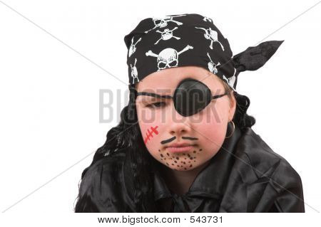 Ten Year Old Girl Dressed Up As Pirate