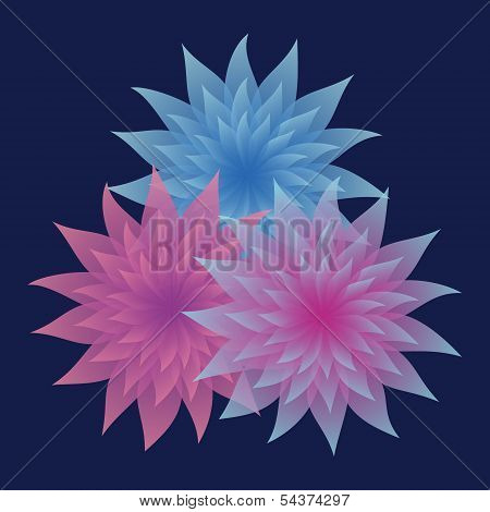 Bunch Of Lilac And Blue Flowers On Dark Blue Background