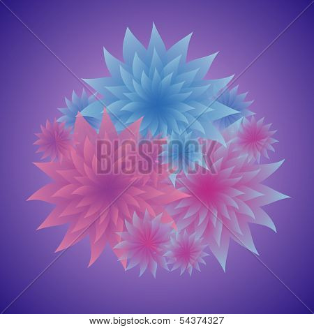 Bunch Of Tender Flowers In Shades Of Blue And Pink On Dark Background