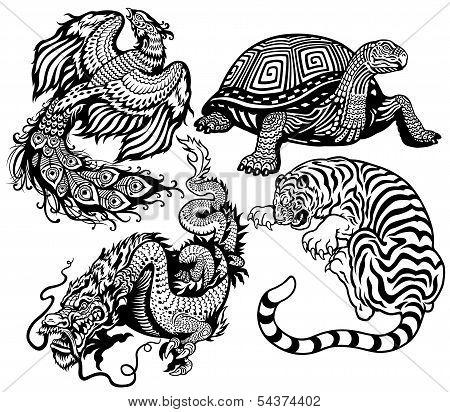 Four Feng Shui Animals Black White