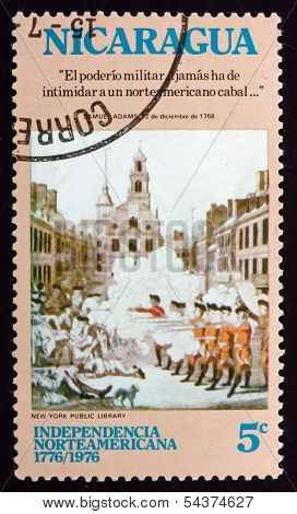 Postage Stamp Nicaragua 1975 Boston Massacre, American Bicentenn