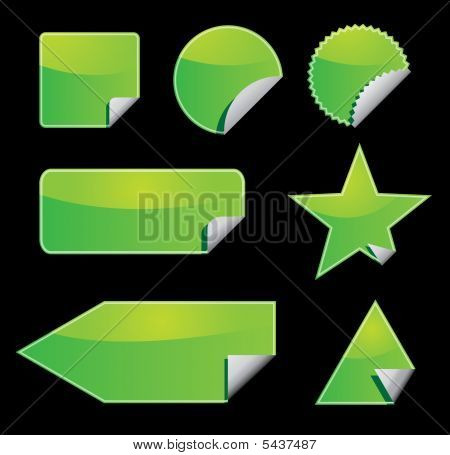 Set Of Green Vector Stickers With Peeling Corners
