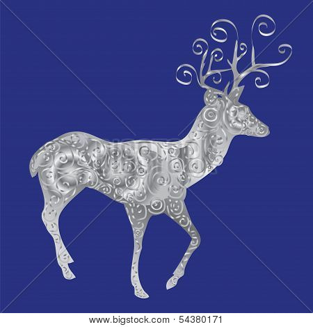silver deer on a blue background.