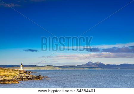 Ocean Coast Lighthouse In Port Charlotte, Scotland