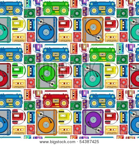 Funky 80's Themed Audio Equipment Seamless Tile