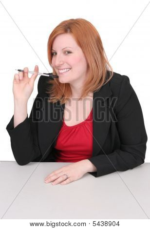 Business Redhead Over White