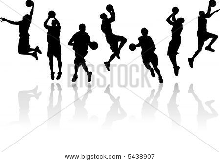 Vector Basketball Player Silhouettes