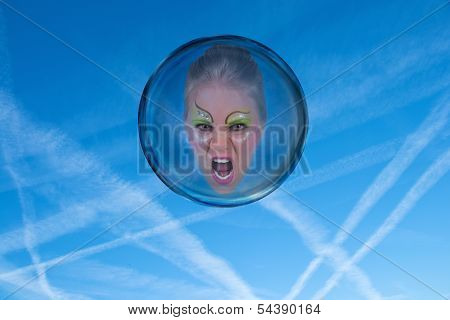 Angry And Frustrated Woman Locked In A Bubble
