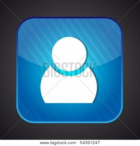 User icon - vector blue app button