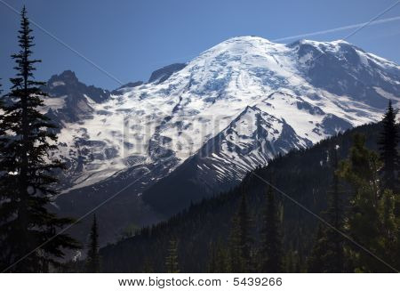 Mount Rainier Sunrise Snow Mountain
