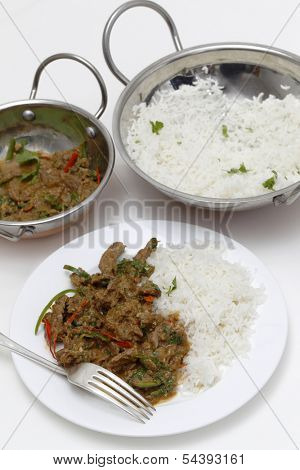 A meal of spiced lamb curry with coriander leaves and slivers of red and green chillies, served with plain boiled rice, high angle view