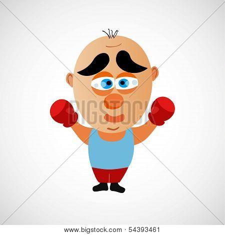 Funny vector cartoon boxer