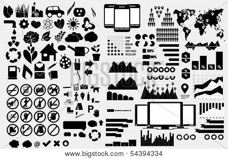 Set of Eco symbols, forbidden symbols and Infographic