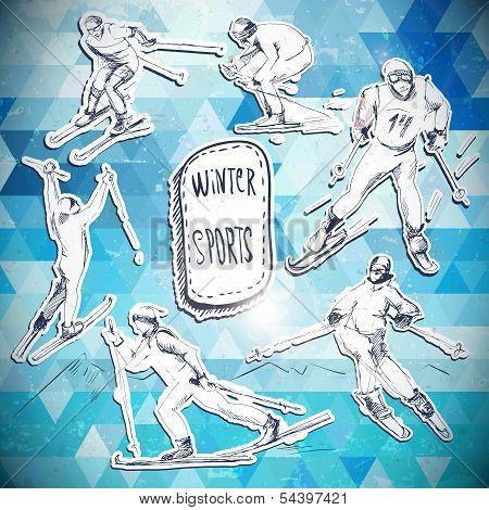 Winter sports, skier scetch