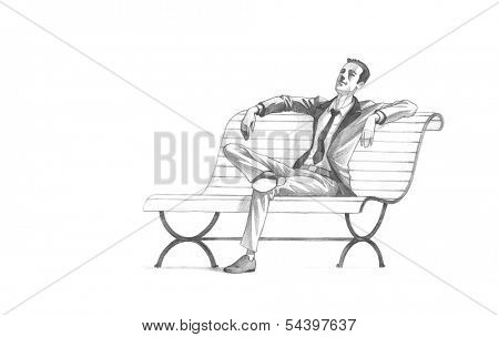 Hand-drawn Sketch, Pencil Illustration, Drawing of Young Entrepreneur taking a relaxing break on a bench | High Resolution Scan, Decent Copy Space