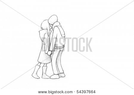 Pencil Illustration, Drawing of Young Couple in Love | High Resolution Scan, Decent Copy Space