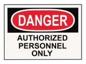 stock photo of osha  - OSHA danger authorized personnel warning sign isolated on white - JPG