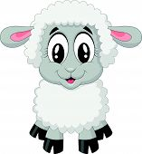 image of kawaii  - Vector illustration of Cute sheep cartoon isolated on white background - JPG