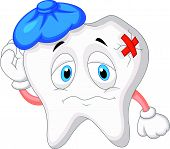 pic of bad teeth  - Vector illustration of Sick tooth cartoon isolated on white background - JPG
