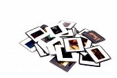 Scattered Colorful Photographic Slides With Black And White Plastic Borders