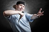 stock photo of attitude boy  - Rapper attitude rap singer hip Hop Dancer performing - JPG