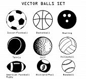 image of bowling ball  - A vector set of different sport balls isolated over white background - JPG