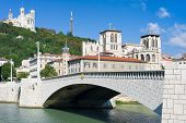 image of bonaparte  - Clasical view on Lyon over the Saone river in a sunny summer day - JPG