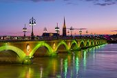 pic of bordeaux  - Cityscape of Bordeaux at a summer night - JPG