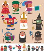 stock photo of hangman  - Set of 9 cartoon medieval characters - JPG