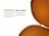 image of zipper  - Brown leather texture background with zipper - JPG