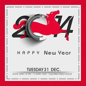 image of year horse  - Stylish Happy New Year 2014 celebration poster - JPG