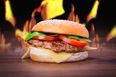 stock photo of cheese-steak  - Hamburger with grilled beef - JPG