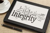 stock photo of integrity  - cloud of words or tags related to integrity and ethical values on a  digital tablet - JPG