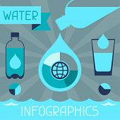 stock photo of glass water  - Water infographics in flat design style - JPG