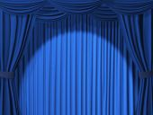 stock photo of curtains stage  - Theatrical curtain of blue color  - JPG