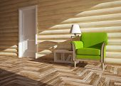stock photo of chalet interior  - modern interior of wooden house with door - JPG
