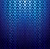 image of hexagon pattern  - Blue metallic grid background - JPG