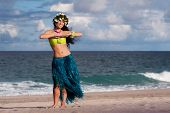 stock photo of hula dancer  - A beautifu happy hula dancer poses on the beach - JPG