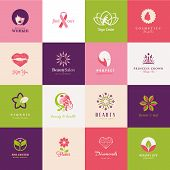 stock photo of princess crown  - Set of flat vector icons for beauty - JPG