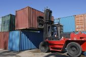 Forklift Stacking Containers