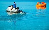 Donut boat and JetSki at Bangsan beach Thailand.