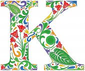 stock photo of letter k  - Colorful floral initial capital letter K  - JPG