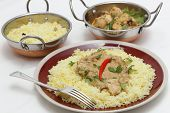 picture of kadai  - View of balti chicken pasanda curry served on a bed of saffron rice - JPG