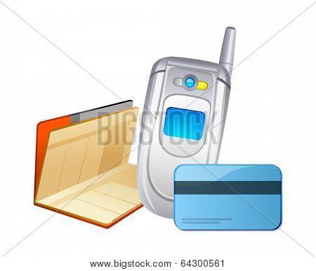 vector icon mobile phone and bankbook