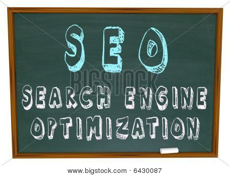SEO Search Engine Optimization Worte auf Tafel