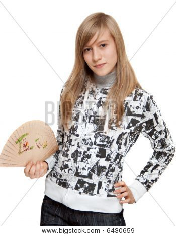 Young Girl With Fantail