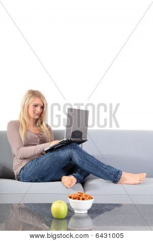 Attractive woman using notebook computer
